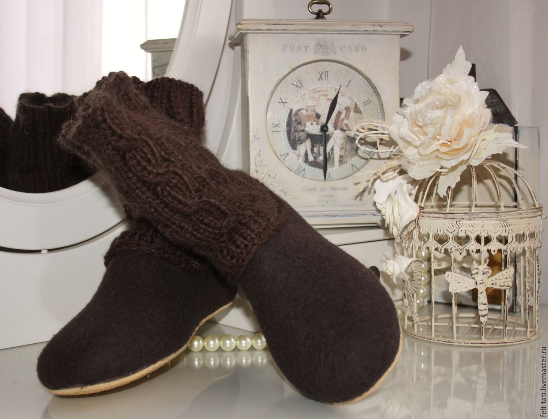 """Обувь ручной работы. Ярмарка Мастеров - ручная работа. Купить Валяные тапочки -чуни """" Шоколад"""". Handmade. Коричневый"""