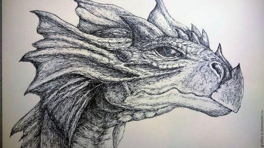 Фантазийные сюжеты ручной работы. Ярмарка Мастеров - ручная работа. Купить Дракон. Графика. Handmade. Чёрно-белый, dragon