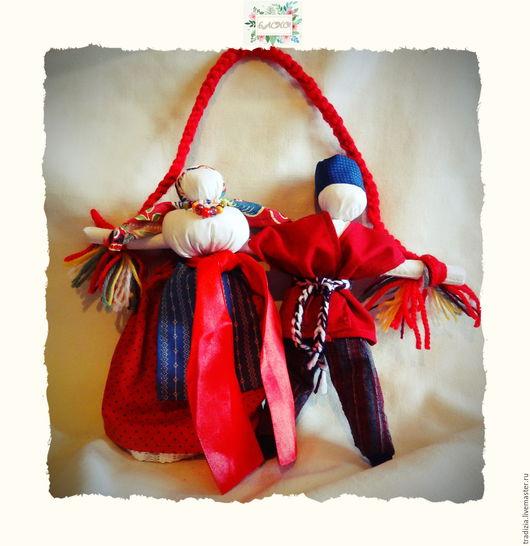 """Народные куклы ручной работы. Ярмарка Мастеров - ручная работа. Купить Кукла тряпичная """"Неразлучники"""". Handmade. Ярко-красный"""
