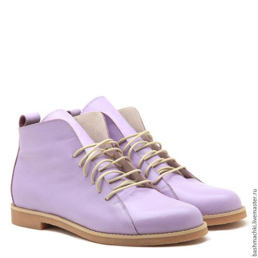 """Обувь ручной работы. Ярмарка Мастеров - ручная работа. Купить Башмачки """"highshoes"""" высокие #46. Handmade. Бледно-сиреневый"""