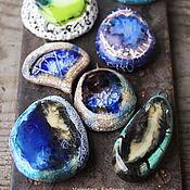 """Украшения ручной работы. Ярмарка Мастеров - ручная работа """"Индиго"""" морские подвески. Керамика, фарфор, стекло. Handmade."""