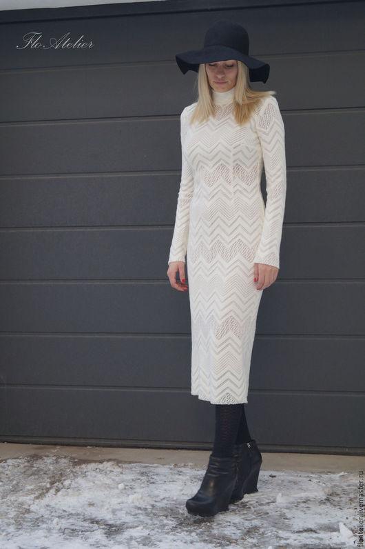 Платья ручной работы. Ярмарка Мастеров - ручная работа. Купить Белое платье/Платье с длинными рукавами/F1540. Handmade. Белый, платье для девочки