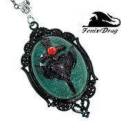 Украшения handmade. Livemaster - original item Black pendant green agate, black sword, heart, Gothic wings. Handmade.