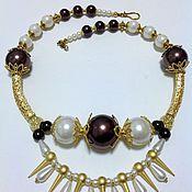 Украшения handmade. Livemaster - original item Set of faux pearl Noble chocolate.. Handmade.