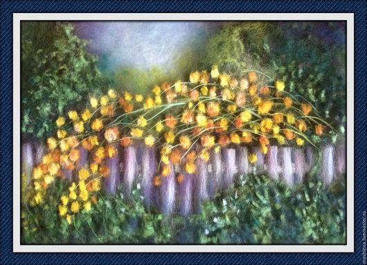 Пейзаж ручной работы. Ярмарка Мастеров - ручная работа. Купить Деревенский пейзаж. Handmade. Шерсть для валяния, шерстяная акварель, пейзаж