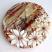 Для дома и интерьера ручной работы. Ярмарка Мастеров - ручная работа часы из стекла, фьюзинг   Веточка с цветами. Handmade.