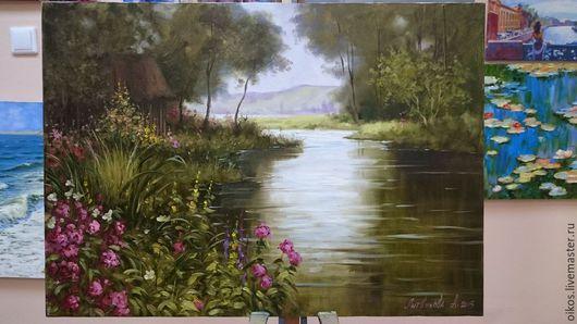 Пейзаж ручной работы. Ярмарка Мастеров - ручная работа. Купить Пейзаж маслом река, цветы, домик. Handmade. Разноцветный