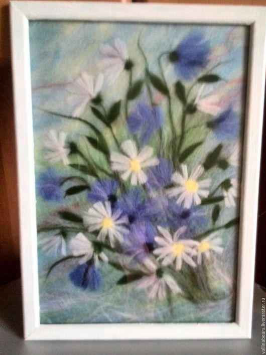 Картины цветов ручной работы. Ярмарка Мастеров - ручная работа. Купить Картина Полевые цветы. Handmade. Акварель шерстью, подарок