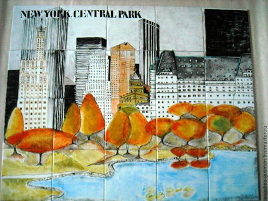 Город ручной работы. Ярмарка Мастеров - ручная работа. Купить Панно на плитке Нью-Йорк. Handmade. Разноцветный, городской сюжет