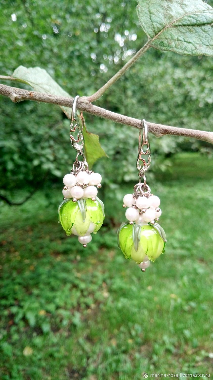 Earrings buds of lampwork beads and pearls, Earrings, Moscow,  Фото №1