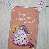 Открытки handmade. Livemaster - original item Card with unicorn in apples