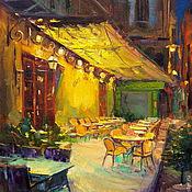 Картины и панно handmade. Livemaster - original item Oil painting on canvas. Cafe