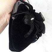 Сумки и аксессуары ручной работы. Ярмарка Мастеров - ручная работа Черная бархатная сумочка с пауком. Handmade.