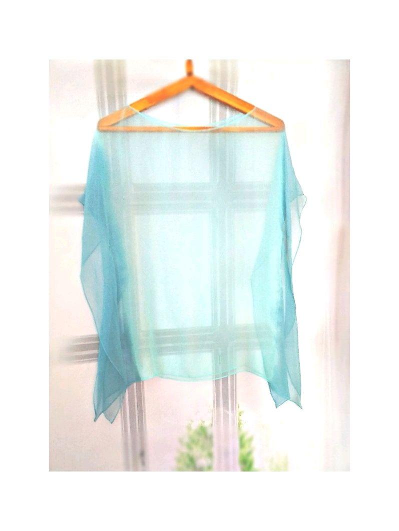 Tunic-Cape silk thin transparent azure-blue, Blouses, Tver,  Фото №1