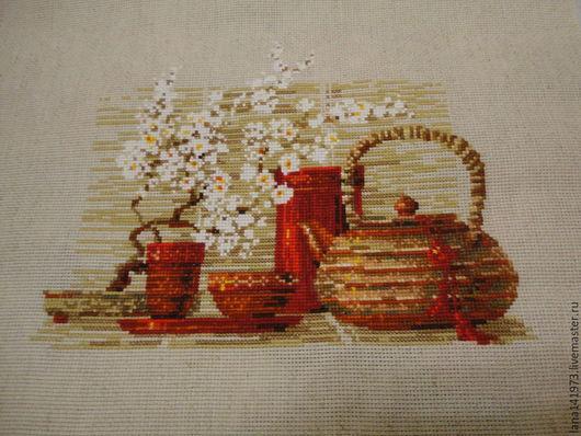 """Натюрморт ручной работы. Ярмарка Мастеров - ручная работа. Купить """"Чай"""". Handmade. Вышивка крестом, ручная работа, нитки для вышивки"""