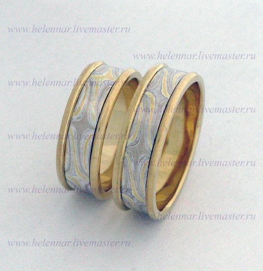 Обручальные кольца со вставкой Мокуме Гане
