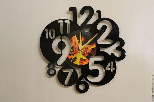 """Часы для дома ручной работы. Ярмарка Мастеров - ручная работа. Купить Часы из виниловый пластинки """"Модерн"""". Handmade. Черный"""