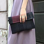 Сумки и аксессуары handmade. Livemaster - original item Clutch genuine leather two-tone dark blue Bordeaux. Handmade.
