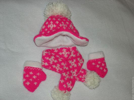 Куклы и игрушки ручной работы. Ярмарка Мастеров - ручная работа. Купить Шапочка, шарфик и варежки для куклы. Handmade. Комбинированный, помпон