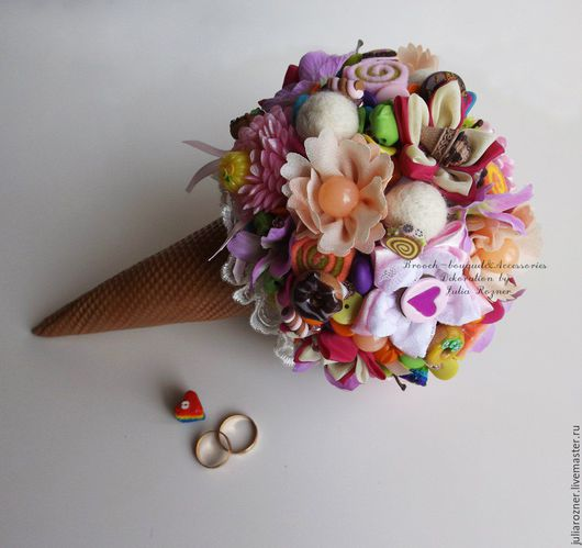 """Свадебные цветы ручной работы. Ярмарка Мастеров - ручная работа. Купить Необычный букет """"Мороженое"""". Handmade. Необычный букет невесты"""