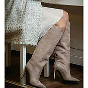 Обувь ручной работы handmade. Livemaster - original item Women`s boots with straight shaft in beige color. Handmade.