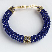 Украшения handmade. Livemaster - original item Harness bracelet beaded blue and gold. Handmade.