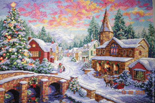 Персональные подарки ручной работы. Ярмарка Мастеров - ручная работа. Купить Рождество (ручная вышивка). Handmade. Разноцветный, картина в подарок
