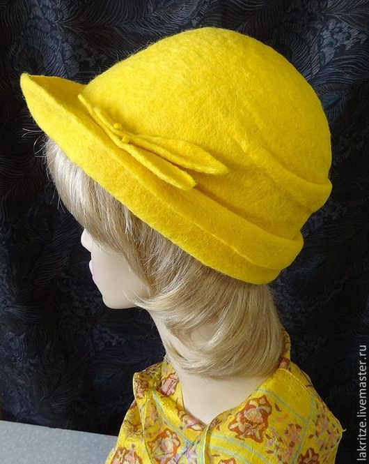 """Шляпы ручной работы. Ярмарка Мастеров - ручная работа. Купить Шляпа-жокейка """"Солнечная лихорадка"""".. Handmade. Желтый, шерсть 100%"""