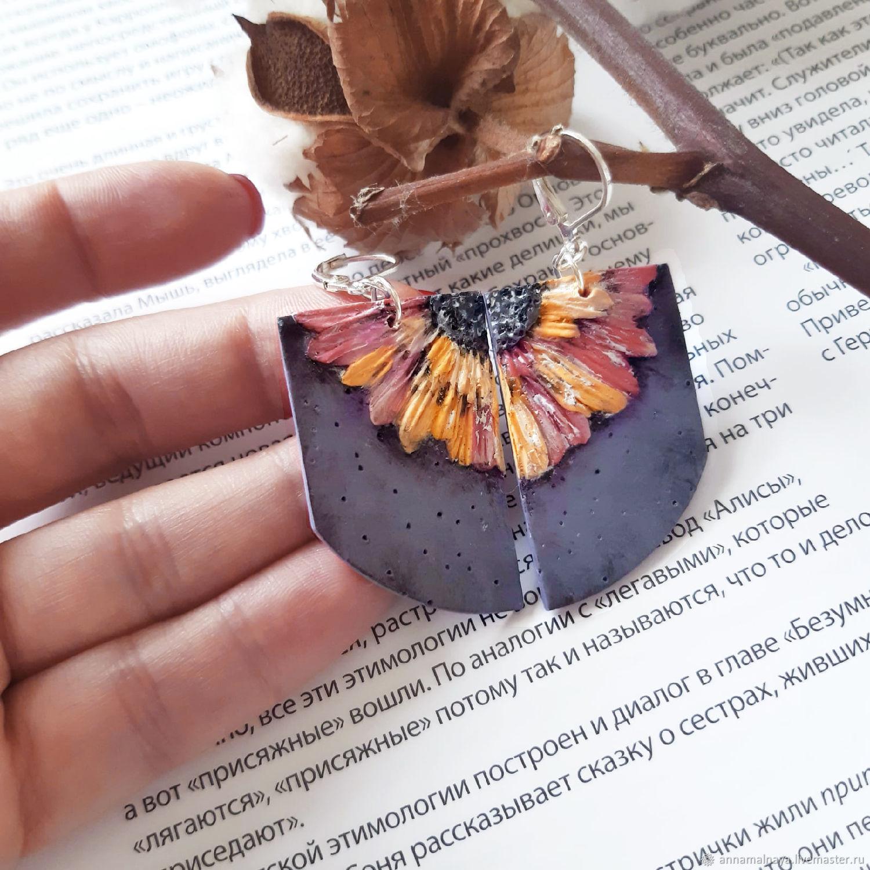 Earrings Flower polymer clay, Earrings, Domodedovo,  Фото №1