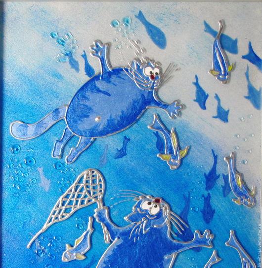 Животные ручной работы. Ярмарка Мастеров - ручная работа. Купить Водоплавающие. Синие коты Рины Зенюк. Витражная картина.. Handmade.