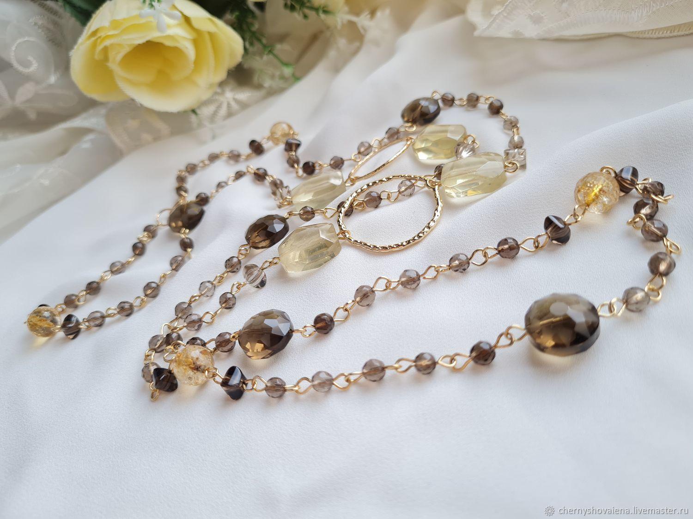 beads. Lemon quartz, rauchtopaz, Beads2, Moscow,  Фото №1
