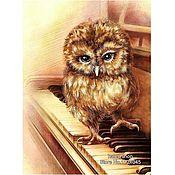 Картины и панно ручной работы. Ярмарка Мастеров - ручная работа Картина Сова на пианино. Handmade.
