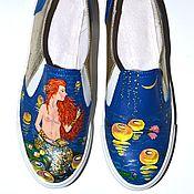 Обувь ручной работы. Ярмарка Мастеров - ручная работа Кожаные слипоны Морская дева. Handmade.