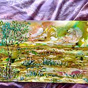 Картины и панно handmade. Livemaster - original item Colorful landscape on the green.. Handmade.
