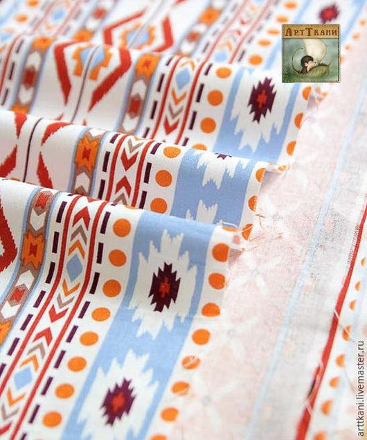 """Шитье ручной работы. Ярмарка Мастеров - ручная работа. Купить 100% хлопок, Корея """"Этнические узоры"""". Handmade. Ткань"""
