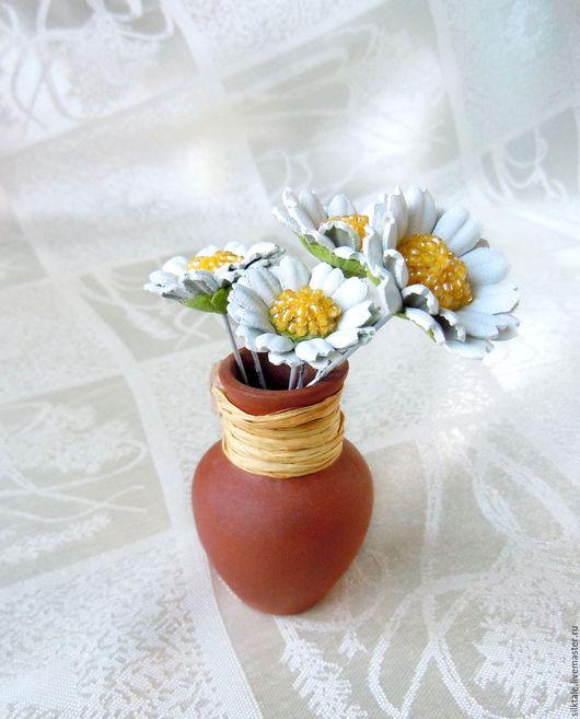 Цветочные шпильки, цветы из кожи, кожаные цветы, ромашки из кожи, украшения из кожи