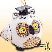 Сувениры и подарки handmade. Livemaster - original item Owl ceramic bell. Owl out of clay.. Handmade.