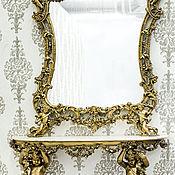 Для дома и интерьера ручной работы. Ярмарка Мастеров - ручная работа Интерьерная пара в стиле барокко:стол для простенка и зеркало.11Рб0154. Handmade.