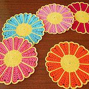 """Для дома и интерьера ручной работы. Ярмарка Мастеров - ручная работа мини салфетки """" Разноцветные ромашки"""". Handmade."""