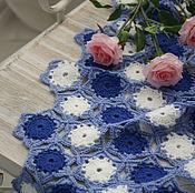 Для дома и интерьера ручной работы. Ярмарка Мастеров - ручная работа Плед синий ажурный вязаный крючком с белыми снежинками. Handmade.