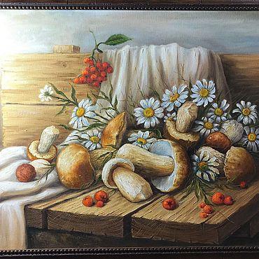 Картины и панно ручной работы. Ярмарка Мастеров - ручная работа Картины: Грибы в ромашках. Handmade.