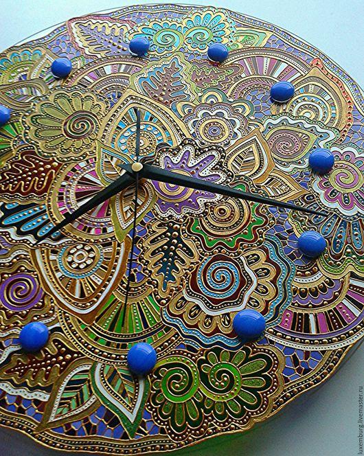 Часы для дома ручной работы. Ярмарка Мастеров - ручная работа. Купить часы настенные. Handmade. Комбинированный, Витражная роспись