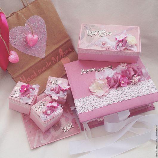 Подарки для новорожденных, ручной работы. Ярмарка Мастеров - ручная работа. Купить Мамины сокровища для девочки в нежно-розовом цвете .. Handmade.