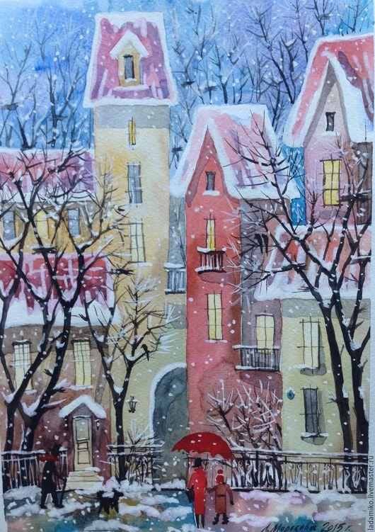 Город ручной работы. Ярмарка Мастеров - ручная работа. Купить Первый снег. Handmade. Комбинированный, Снег, акварельная живопись
