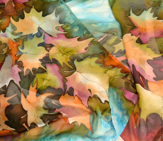 Шали, палантины ручной работы. Ярмарка Мастеров - ручная работа. Купить Шелковый палантин-шарф Поздняя осень. Handmade. Разноцветный
