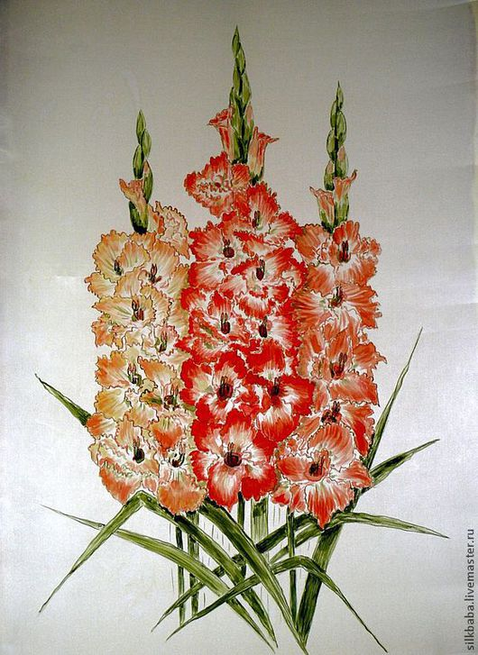 """Картины цветов ручной работы. Ярмарка Мастеров - ручная работа. Купить Панно """"Гладиолусы"""". Handmade. Батик, цветы"""