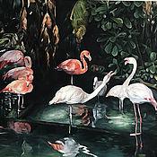 Картины и панно handmade. Livemaster - original item Oil painting Flamingo 80h100 cm. Handmade.