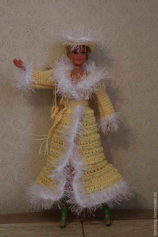 Одежда для кукол ручной работы. Ярмарка Мастеров - ручная работа. Купить Пальто Солнечное для Барби. Handmade. Желтый, барби, пряжа