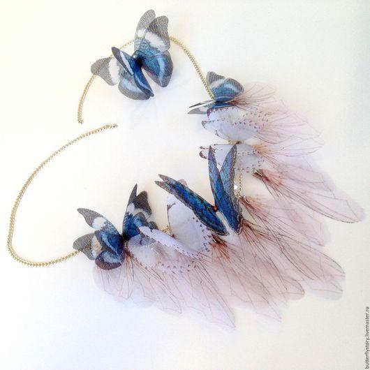 Кулоны, подвески ручной работы. Ярмарка Мастеров - ручная работа. Купить Ожерелье из шелковых бабочек. Handmade. Комбинированный, бабочка, порхающие