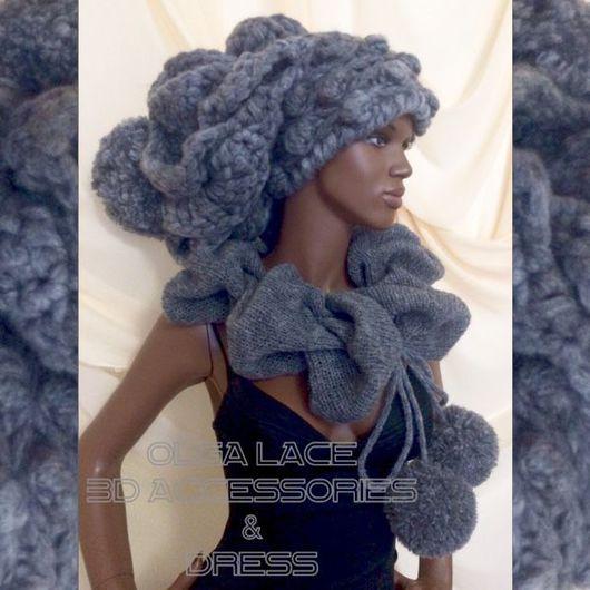 """Шапки ручной работы. Ярмарка Мастеров - ручная работа. Купить Мега объёмная вязаная шапка """"Luxury"""" от Olga Lace. Handmade."""